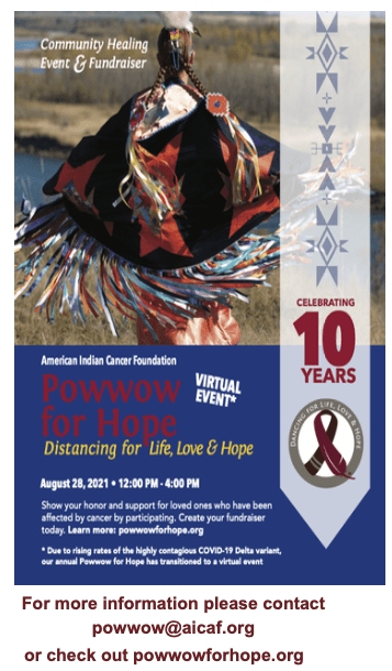 Annual Powwow for Hope: Dancing for Life, Love & Hope - VIRTUAL EVENT - 2021